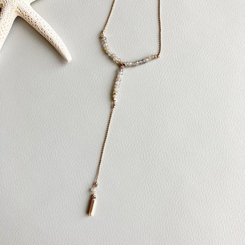 画像1: Y字 beads necklace (1)