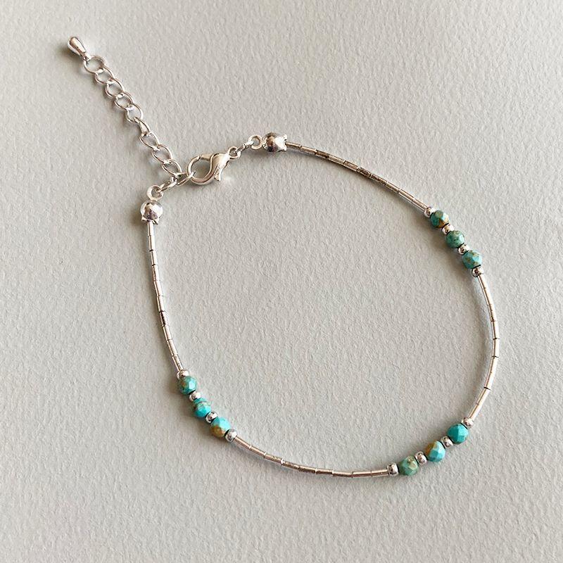 画像1: Turquoise color beads bracelet  (1)