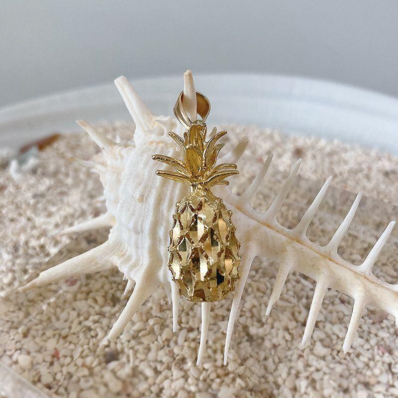 画像1: 【ハワイアンジュエリー】 14K pineapple necklace top (1)
