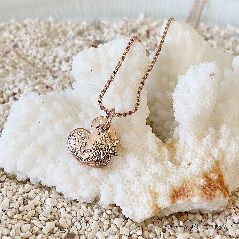 画像1: 【ハワイアンジュエリー】14K heart on star necklace top (1)