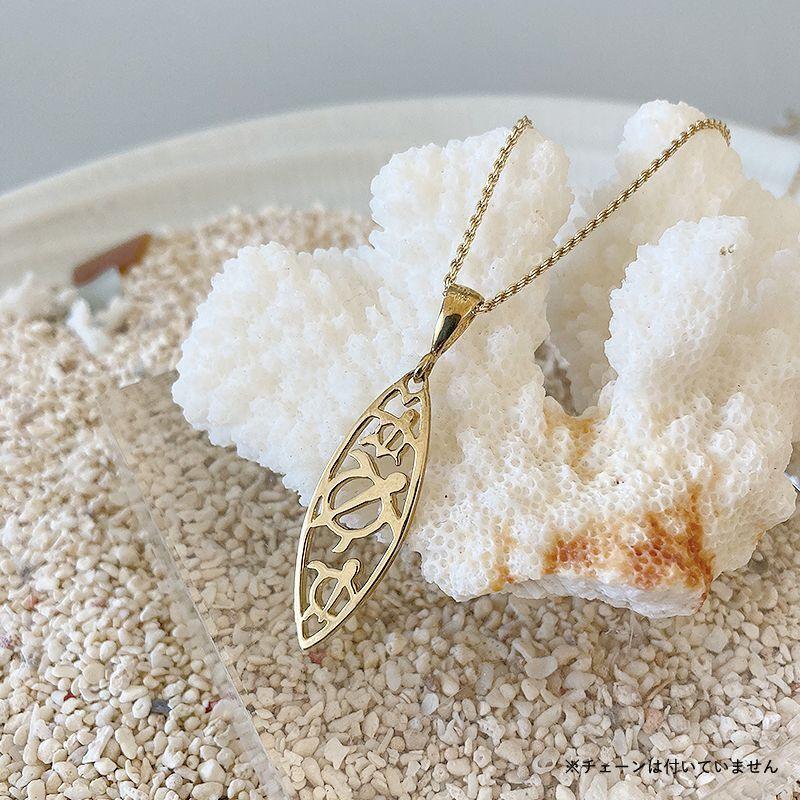 画像1: 【ハワイアンジュエリー】14K Honu board necklace top (1)