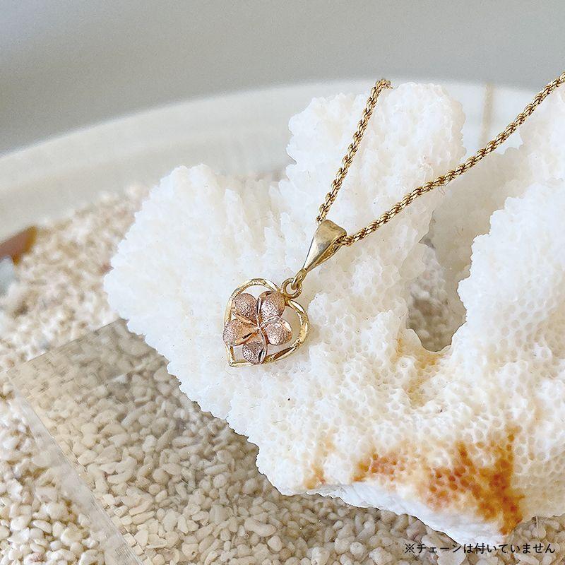 画像1: 【ハワイアンジュエリー】14K plumeria × heart necklace top (1)