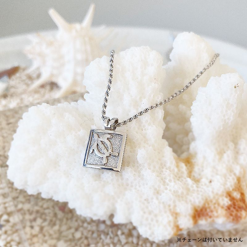 画像1: 【ハワイアンジュエリー】14K square honu necklace top (1)