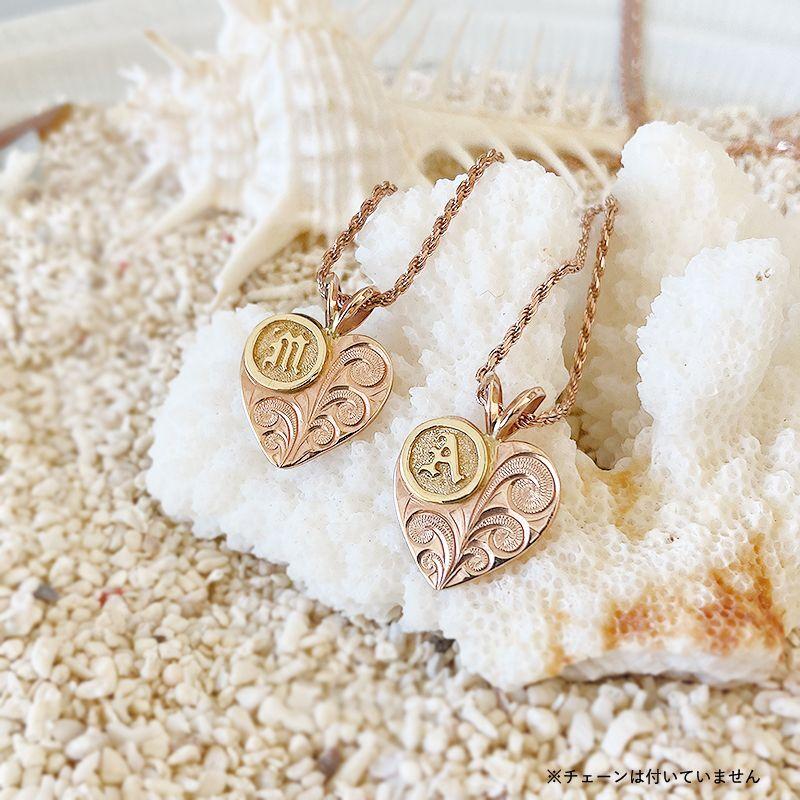 画像1: 【ハワイアンジュエリー】14K initial heart  necklace top MorA (1)