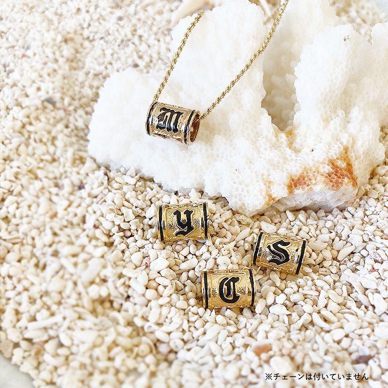 画像1: 【ハワイアンジュエリー】14K initial barrel necklace top (1)