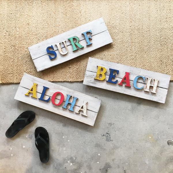 画像1: SALE!! wood メッセージボード ALOHA/SURF/BEACH (1)