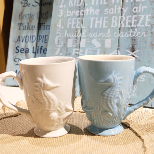 画像1: 【SALE】LA買付け シーホース&シェルマグカップ ホワイト/ブルー (1)