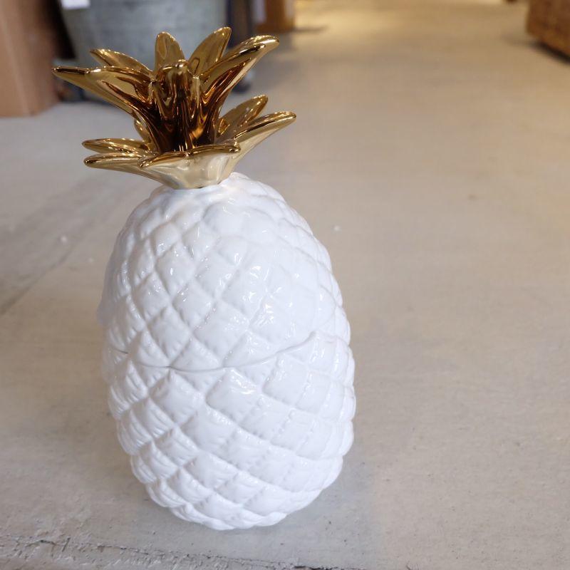 画像1: 【SALE】パイナップル キャニスター Gold&White【カリフォルニア】 (1)