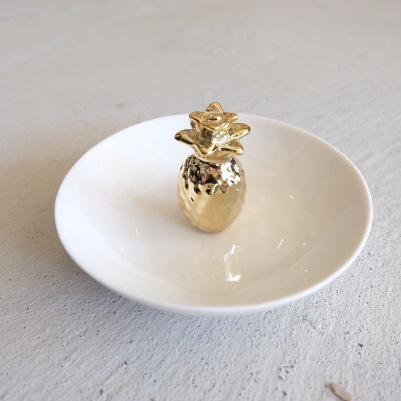 画像1: パイナップル ジュエリートレイ GOLD&WHITE【カリフォルニア】 (1)